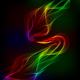 Abstract design-colorful waves on the dark background. Royalty Free Stock Image