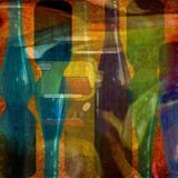 Abstract design. Colorful abstract design, wine bottles vector illustration