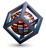 Abstract design 3d. Logo design, 3d cube with flag of the world on earth globe Stock Image