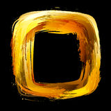 Abstract  design element. Square frame painted with brush. Gold. Abstract  design element. Square frame painted with brush strokes Stock Images
