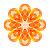 Abstract Design Element on White Background. Bright Orange Circular Patterned Ornament Stock Image
