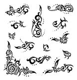 Abstract design elements. Set of tribal, floral corners and design elements Stock Photo