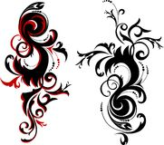 Abstract design elements. Set of abstract ornament in red and black color Stock Image