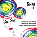 Abstract design elements with woman face Royalty Free Stock Photography