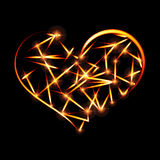 Abstract design-fiery heart shape on black background. Stock Image