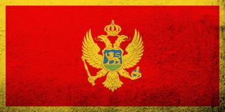 National flag of Montenegro. Grunge background royalty free illustration