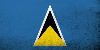 National flag of Saint Lucia. Grunge background vector illustration