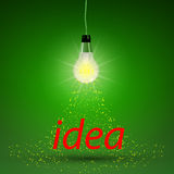 Abstract design of glowing light bulb with sparkle Stock Photo