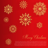 Abstract design with golden Snowflakes and Merry Christmas wishes on red background. Vector Stock Photography