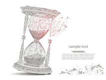 Abstract design of hourglass, in the form of lines and points. The concept of business and time.isolated from low poly wireframe on white background. Vector vector illustration