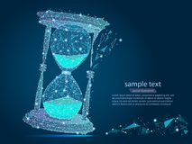 Abstract design of hourglass, in the form of lines and points. The concept of business and time. from low poly wireframe on blue background. Vector abstract stock illustration