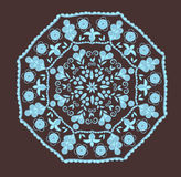 Abstract design in indian style. With paisleys in brown and blue colors Royalty Free Stock Photos