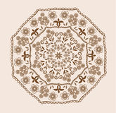 Abstract design in indian style. With paisleys in brown and beige colors Royalty Free Stock Images