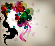 Abstract design lady shadow with colorful heart. Beautiful fashion abstract design lady shadow with colorful heart Stock Photography