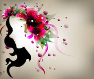 Abstract design lady shadow with pink lily flower. Stock Photos