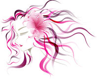 Abstract design lady shadow with pink lily flower. Royalty Free Stock Photo