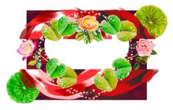 Abstract design leaf and roses stroke colorful bright Royalty Free Stock Photography