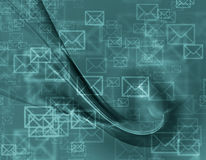 Abstract design of mail envelopes. Flying in cyberspace royalty free illustration
