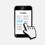 Abstract Design Mobile Phone with News Concept. Royalty Free Stock Image