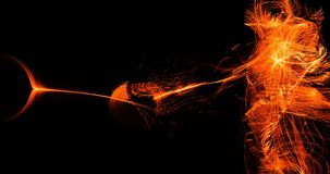 Orange Abstract Lines Curves Particles Background. Abstract Design In Orange Lines Curves Particles On Dark Background Royalty Free Stock Images