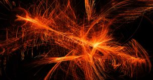 Orange Abstract Lines Curves Particles Background. Abstract Design In Orange Lines Curves Particles On Dark Background Stock Photos