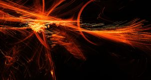 Orange Abstract Lines Curves Particles Background. Abstract Design In Orange Lines Curves Particles On Dark Background Stock Photography