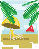 Abstract design with palm leaves, sand, beach umrella and chair and view to the sea with a red boat Stock Image