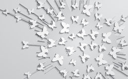 Abstract design with paper butterfly on the background of explos Royalty Free Stock Image