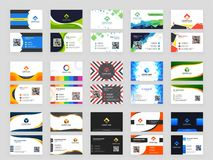 15 abstract design pattern set of horizontal Business card with. Front and back presentation Royalty Free Illustration