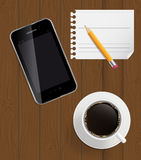 Abstract design phone, coffee, pencil, blank page Stock Photography