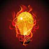 Abstract design of red light bulb on fire for text Royalty Free Stock Photos