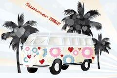 Abstract design with retro van. Art poster of retro van of 1962 - eps10 vector illustration royalty free illustration