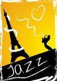 Abstract design with saxophonist. And eiffel Tower Stock Photo