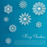 Abstract design with Snowflakes and Merry Christmas wishes on blue background. Vector Stock Photo