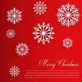Abstract design with Snowflakes and Merry Christmas wishes on red background. Vector Stock Photos