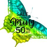 Abstract Design Spring Sale Banner Template. Vector Illustration Royalty Free Stock Photo
