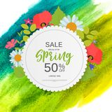 Abstract Design Spring Sale Banner Template. Vector Illustration Royalty Free Stock Image
