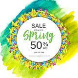 Abstract Design Spring Sale Banner Template. Vector Illustration Royalty Free Stock Images