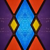 Abstract design with stained glass in red, purple, blue and yellow, material for decoration of windows, background and texture. Backdrop for colors related ads royalty free illustration
