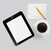 Abstract design tablet, coffee, pencil, blank page Royalty Free Stock Images