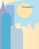 Abstract design travel banner. Flying airplane over the modern city. Abstract modern cityscape Royalty Free Stock Photos