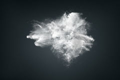 Abstract design of white powder cloud. Against dark background Stock Image