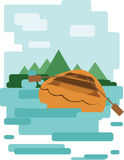 Abstract design with a wooden boat on the water leading to an island, back view, flat style. Digital vector image vector illustration