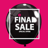 Abstract Designs Final Sale Banner in Black, Pink Colours with F. Rame and Balloons. Vector Illustration EPS10r Stock Photos