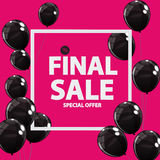 Abstract Designs Final Sale Banner in Black, Pink Colours with F. Rame and Balloons. Vector Illustration EPS10r Royalty Free Stock Photo