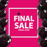 Abstract Designs Final Sale Banner in Black, Pink Colours with F. Rame and Balloons. Vector Illustration EPS10r Royalty Free Stock Images