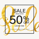 Abstract Designs Sale Banner Template with Frame. Vector Illustr Stock Image