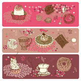 Abstract desserts or cakes. Abstract banners or backgrounds with artistic illustrations of various kinds of desserts or sweet cakes Stock Images
