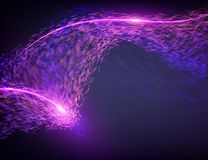 Abstract destroyed violet flame vector mesh background. Futuristic technology style. Stock Image