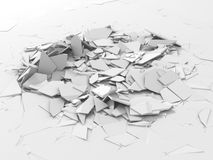 Abstract destruction white surface. Chaotic broken fragments bac. Kground. 3d render illustration stock illustration